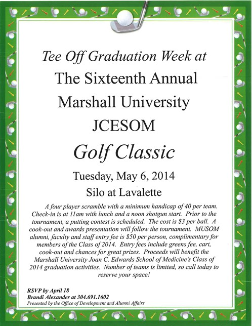 16Th Annual Marshall University JCESOM Golf Classic Flyer